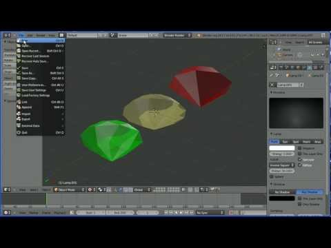 Blender 2.6 Modelling Tutorial - Making Gem Stones (Diamond, Ruby and Emerald) Using An Add-On