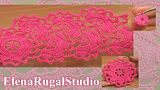getlinkyoutube.com-Crochet Wide Lace Tape Tutorial 7 Part 1 of 2 Crochet Round Motif