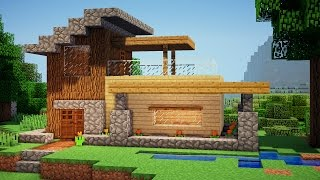 getlinkyoutube.com-Minecraft: Easy Wooden House Tutorial - How to Build a House in Minecraft