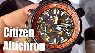 getlinkyoutube.com-Citizen Eco-Drive Promaster Altichron solar compass watch unboxing and review BN5035-02F