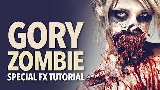 getlinkyoutube.com-Gory zombie special fx makeup tutorial
