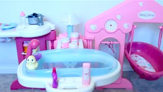 getlinkyoutube.com-Baby Doll nursery toys for girls  baby girl change dolls diaper, bath baby toy videos for kids