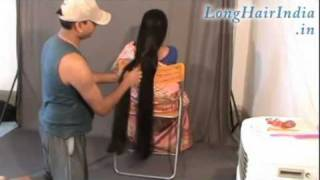 getlinkyoutube.com-Elegantly Playing with Knee Length Silky Hair