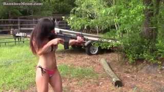AR15 Bikini Farm Girl Throws Ax, Shoots Guns, Recurve Bow and Arrow!