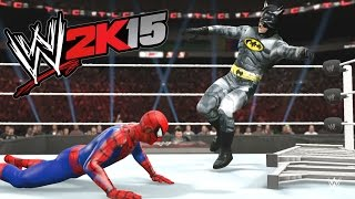 getlinkyoutube.com-WWE 2K15 - BATMAN VS Spider Man - TLC MATCH