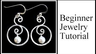 Easy Jewelry Tutorial : Double Hoop Swirl with Pearl Dangle Earrings