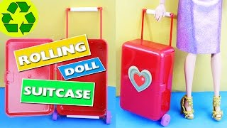 DIY | Doll Rolling Luggage / Suitcase - Really moves, opens and closes - simplekidscrafts