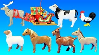 getlinkyoutube.com-Playmobil Country Farm Animals Building Toy Sets Collection For Kids - Christmas at the Farm Theme