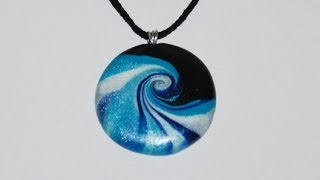 getlinkyoutube.com-Swirled Polymer Clay Pendant - Ocean Wave