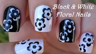 getlinkyoutube.com-BLACK & WHITE FLORAL NAIL ART / LifeWorldWomen Collab Mimzie / Monochrome Nails