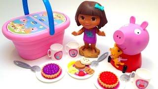 getlinkyoutube.com-Play Doh Peppa Pig Picnic Basket Cesta de Picnic Dora The Explorer Cookie Monster Toys