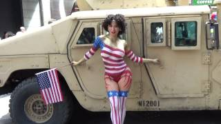 getlinkyoutube.com-Red  White and Blue in Times Square NYC for Fleet Week 2015 Body Paint