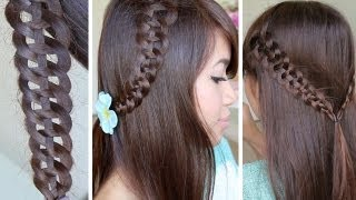 getlinkyoutube.com-4-Strand Slide-Up Braid Hairstyle Hair Tutorial