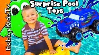 getlinkyoutube.com-GIANT Eggs SURPRISE Bucket + Hydrovers Power Ride on Water HobbyBabyBear HobbyKidsTV