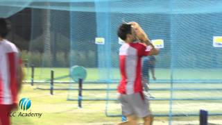 Mitchell Johnson bowls spin at the ICC Academy in Dubai Sports City.