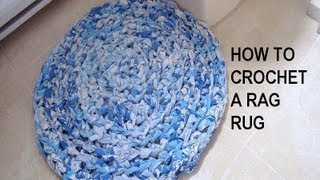 How to CROCHET A RAG RUG, recycle project width=