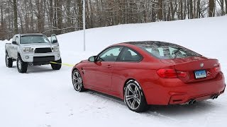 getlinkyoutube.com-BMW M4 vs Toyota Tacoma Snow Tow