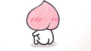 How to draw a Peach  #003 카톡 이모티콘 어피치(복숭아) 손그림 그리기 그리는 법 (from Kakao Talk Emoticon)