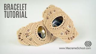 getlinkyoutube.com-Macrame Bracelet with Stone - Tutorial in Vintage Style