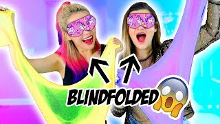 Blindfolded Slime Challenge! Making Giant Fluffy Slime With Cloe Couture! width=