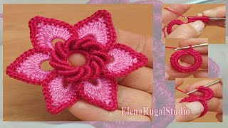 getlinkyoutube.com-Irish Crochet Double Layered Flower Tutorial 19