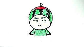 getlinkyoutube.com-How to draw Dalki from Korea Character  딸기의 수박 그리기 cute kawaii  かわいい 可愛  손그림  귀여운 예쁜 그림 그리는 법