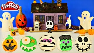getlinkyoutube.com-How To Make Halloween Play Doh Cupcakes Jack Skellington Frankenstein Jack-O-Lantern by DCTC
