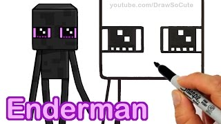 How to Draw Minecraft Enderman Cute step by step Easy