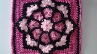 getlinkyoutube.com-Crochet, cuadrado  o bloque vidriera para colcha o manta #patron