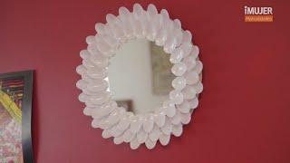 getlinkyoutube.com-Espejo decorado con cucharas | Cómo decorar un espejo | @iMujerHogar