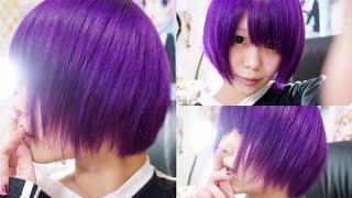 getlinkyoutube.com-How to dye your hair=purple=  カラートリートメントで髪を紫に染めてみた by momopiyo