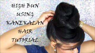 getlinkyoutube.com-HIGH BUN USING KANEKALON HAIR TUTORIAL