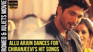 Allu Arjun Dances for Chiranjeevis Hit Songs | Romeo & Juliets Malayalam Movie | Iddarammayilatho
