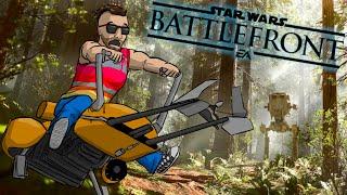 Star Wars Battlefront Launch Funny Moments - Crazy Animations, Speeder Bikes, Walker Assault