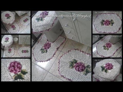 Flor para tapetes em crochês - Artesanatos em Crochês Vanda