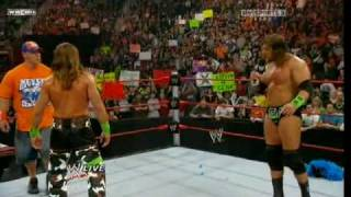 getlinkyoutube.com-Shawn Michaels gets upset at the end of Raw from 18.01.10 (because Cena is late :D )