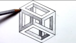 getlinkyoutube.com-How-to-draw an Optical Illusion - Escher Cube