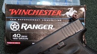getlinkyoutube.com-Winchester Ranger 40 S&W 165gr Ballistic Gel Test