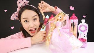 캐리의 라푼젤 미미 공주파마 장난감 미용실 놀이 CarrieAndToys
