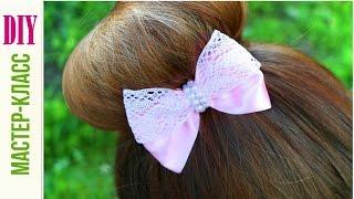 getlinkyoutube.com-Как Сделать Бантик из ленты с Кружевом  / Hair Bow Tutorial / DIY ✿ NataliDoma
