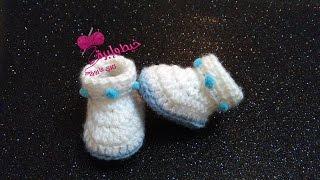 كروشيه هاف بوت بيبى عُمر يوم - 3شهور | خيط وإبرة |  crochet baby booties 0-3 months