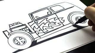 How To Draw A Hot Rod (for kids!)