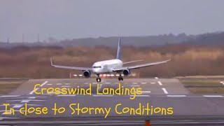 getlinkyoutube.com-Crosswind Landings ~ Crabbing into wind ~ Landings with a strong Stormy Crosswind