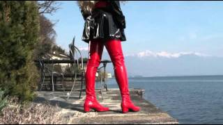getlinkyoutube.com-Red Patent Crotch Thigh High Boots.mp4