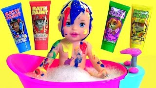 getlinkyoutube.com-Little Mommy Bubbly Bathtime Color Changing Baby Doll with Bath Paint Paw Patrol by Disney Collector