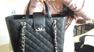 "CHANEL new ""CC BOX"" small shopping tote in black Caviar leather Summer 2017"