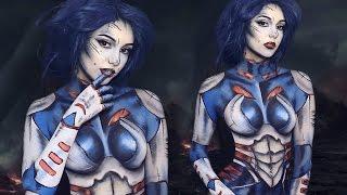 getlinkyoutube.com-Gamora Inspired Body Paint Tutorial | Melania Yaneva