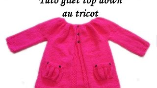 getlinkyoutube.com-TUTO GILET BRASSIERE BEBE TOP DOWN AU TRICOT top down vest jacket for easy knitting baby