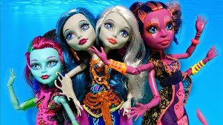 getlinkyoutube.com-NEW Monster High Great Scarrier Reef Dolls Peri & Pearl Posea Reef Kala Mer'ri Unboxing Toy Review