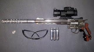 """getlinkyoutube.com-12 Joule Ruger Superhawk 8"""" extrem getunt 5.0 stärkster Co2 Revolver airsoft 295m/s (967fps) 5,95mm"""